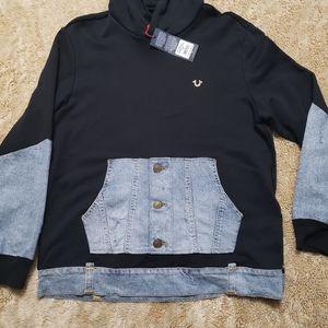 True Religion Mens Black Repaired Hoodie Jeans